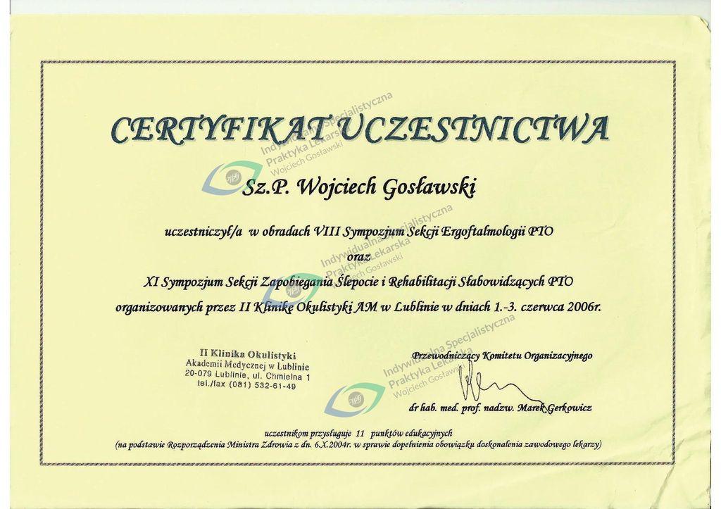 Okulista dr Wojciech Gosławski  Szczecin |  Indywidualna Specjalistyczna Praktyka Lekarska